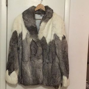 Cool vintage rabbit fur coat sz lg